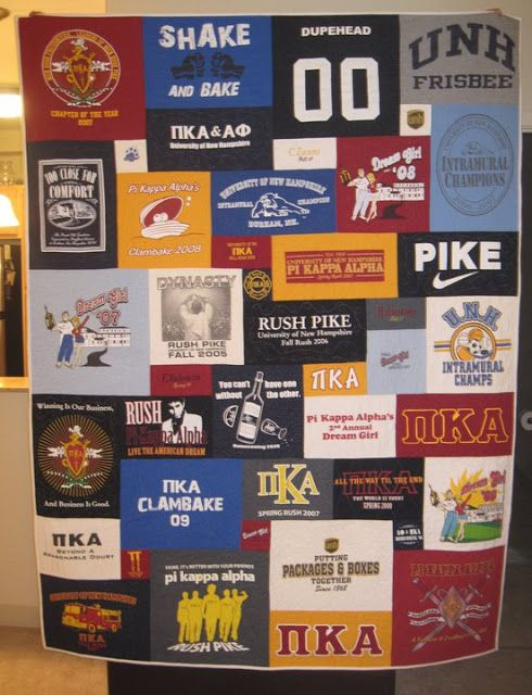 Little Blip: T-Shirt Quilts  Uneven blocks, random layout This would be great with hubby's old Harley shirts!