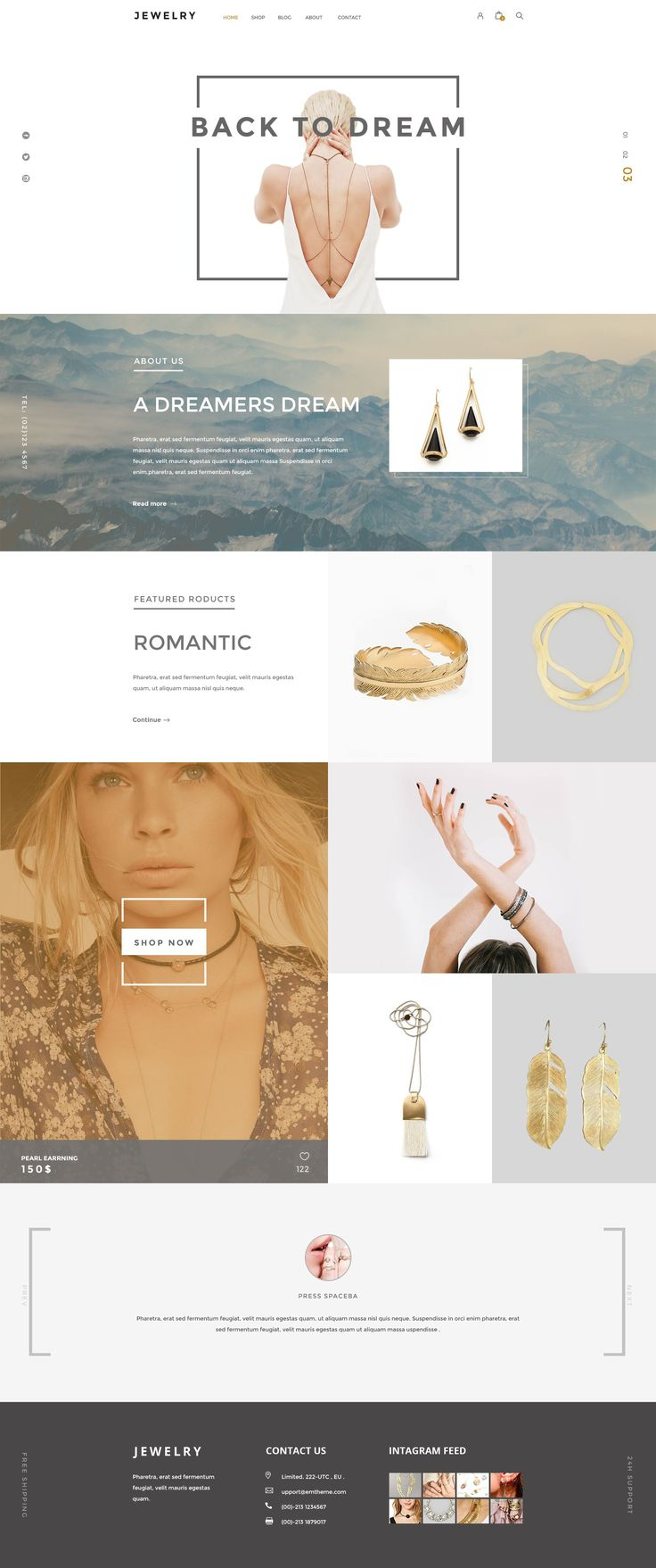 Jewelry PSD Template is design which is ideal as it is for Ecommerce Site. You can convert it to Site Template,Shopify, Magento, Wordpress, Joomla or other CMS. #psdtemplate                                                                                                                                                                                 More
