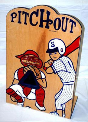 """Pitch Out Carnival Game - Each Game Comes Complete with:Support Legs & 2 Whiffle Baseballs Specifications: H:37"""" x D:9"""" x W:23"""" Weight: 31 lbs Orders totaling over 100 lbs may be subject to additional"""