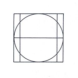 1. Roman Capitals Proportions. The grid consists of a square and inside it a circle that just touches the lines of the square in four places. Within the square, there is also a rectangle positioned in the centre of the square.