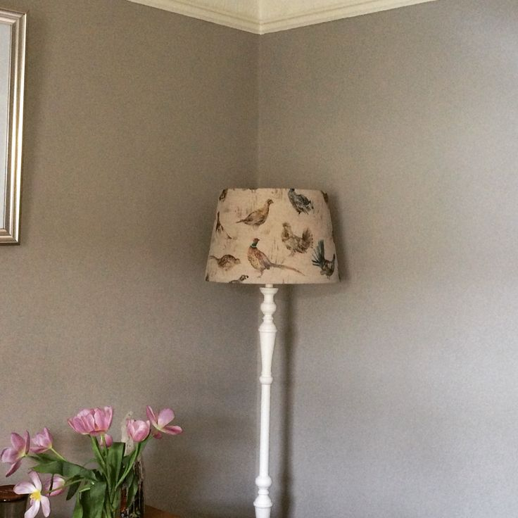 Homemade lamp shade with Voyage Maison fabric in Game Birds. Farrow and Ball walls in Hardwick White. Standard Lamp from Laura Ashley