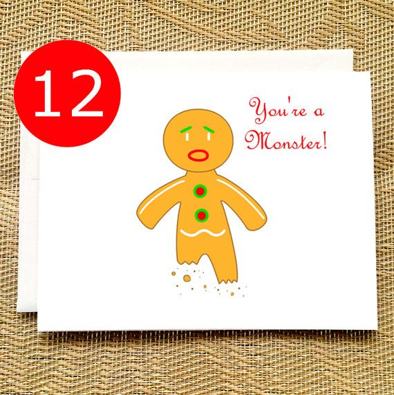 20 best funny christmas and holiday cards for awesome people images funny holiday card set of 12 funny christmas card set gingerbread person monster funny holiday cards funny christmas card boxed set m4hsunfo Gallery
