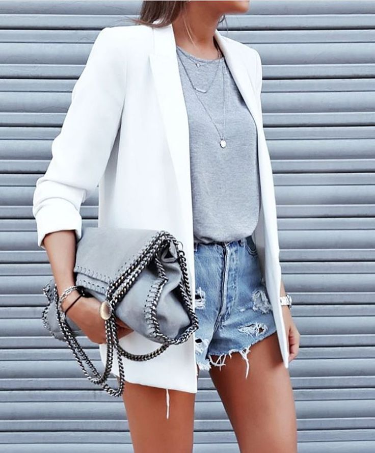Fashion look #white #blazer #cutoffs