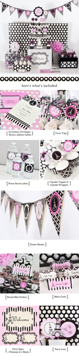 Paris Themed - Party Kit - Bridal Shower - Party - BBQ - Bithday. $62.00, via Etsy.