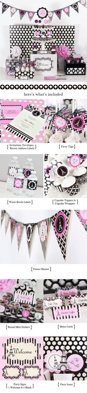 Paris Themed - Party Kit - Bridal Shower - Party - BBQ - Bithday. $62.00, via Etsy.