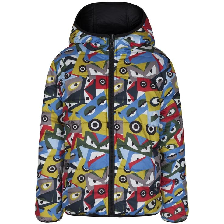 Fendi Boys Black and Multicoloured Monster Print Reversible Padded Jacket