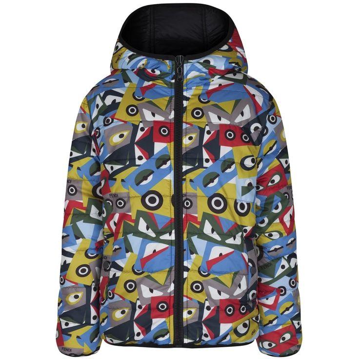Fendi Boys Black and Multicoloured Monster Print Reversible Padded Jacket