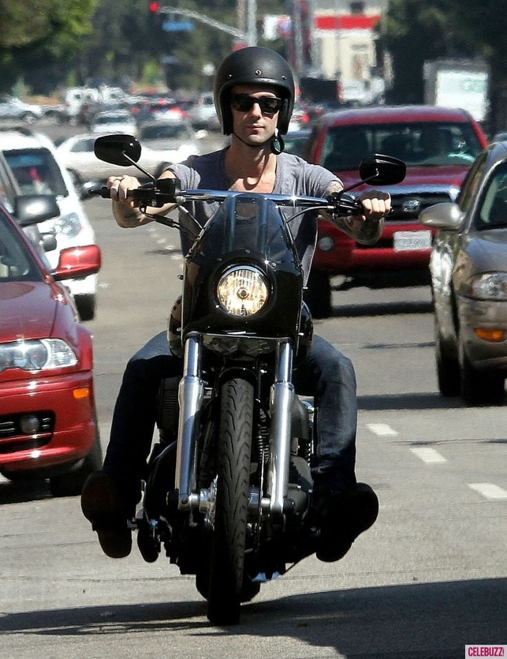 Adam Levine goes for a ride on his motorcycle in West Hollywood on October 3, 2012.