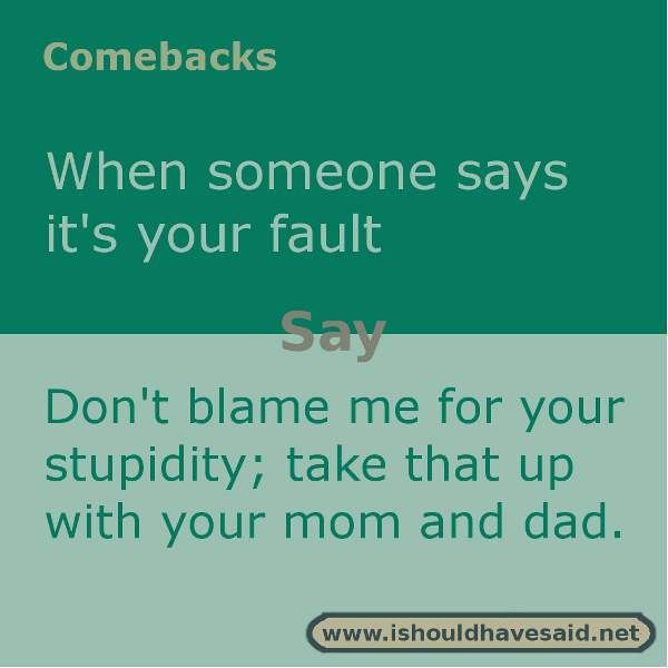 Use this snappy comeback if someone is always blaming you for everything. Check out our top ten comebacks lists | www.ishouldhavesaid.net