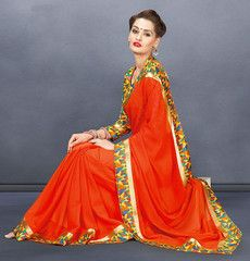 Dark Orange Color Georgette Casual Functions Sarees : Mahira Collection  YF-41011
