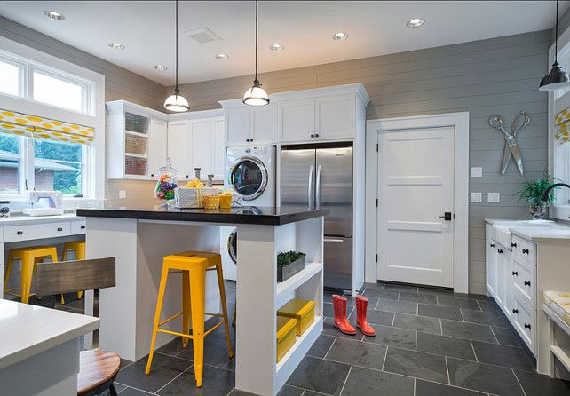 This custom one of a kind Mudroo/ craftroom is the greatest room for all your home projects and daily needs. From wrapping presents to sewing to homework study area. Notice the extra fridge and washer and dryer.