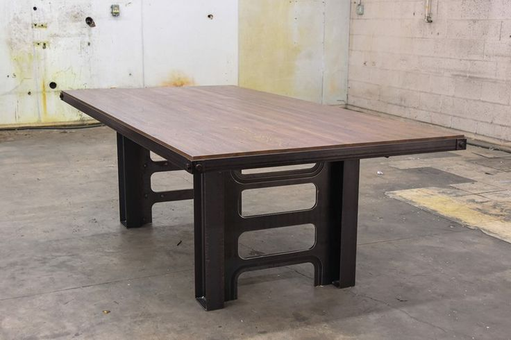 New desk or table design. Available in virtually any size or finish. Shown with a reclaimed butcher block top. Designed and built by Vintage Industrial in Phoenix.