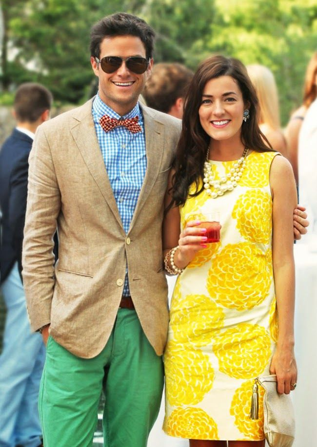 Patterned shift dress, big baubles (and a handsome fellow in a bow tie!)