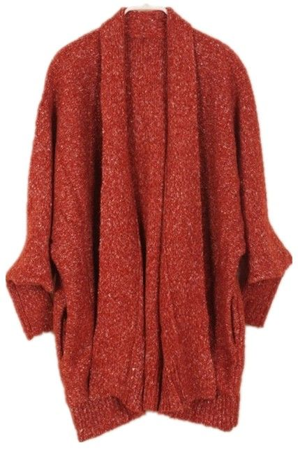 Coffee Batwing Long Sleeve Loose Cardigan Sweater