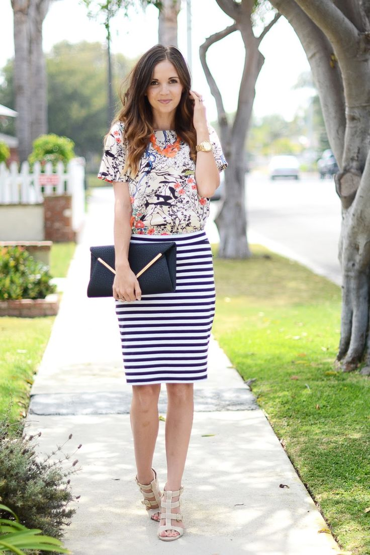 Mixing Prints: Abstract Print Blouse, Stripe Pencil Skirt, Casual Wedges, Bright Necklace