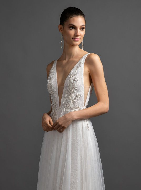 66bf3479ba Style 3902 Alma Lazaro bridal gown - Ivory ombre sparkle net A-line bridal  gown