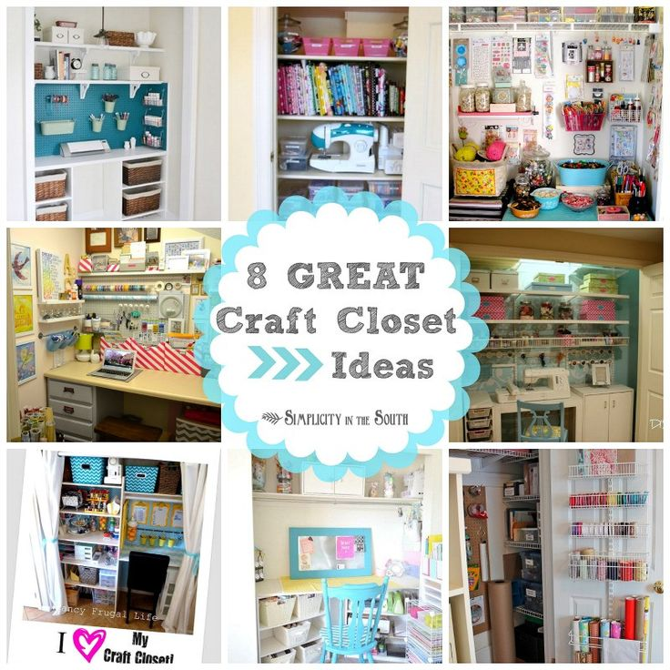 8 Great Craft Closets: Organization Ideas - Like the one with the desk & sewing machine.