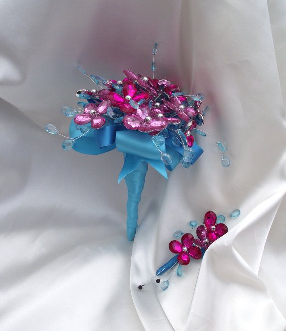 hot pink en aqua blauw bruidsmeisje boeket fuchsia door UptownGirlzz