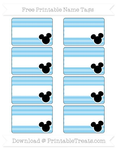 Free Baby Blue Horizontal Striped  Mickey Mouse Name Tags