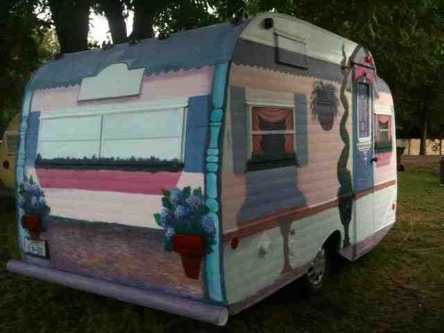 I had a blast painting this fun little vintage camper inside and out, for a client who had decorated the inside Victorian. See more photos here: https://www.fac…