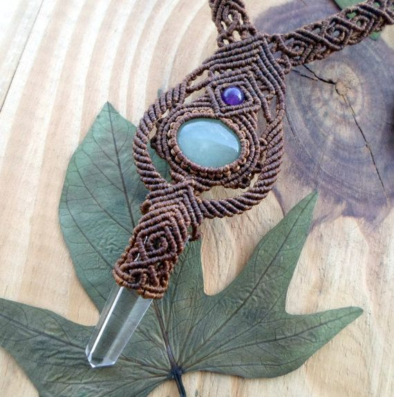 Aquamarine and Crystal Quartz wand macrame necklace, macrame stone, micro macrame, aquamarine cabochon, macrame jewelry, gemstone necklace