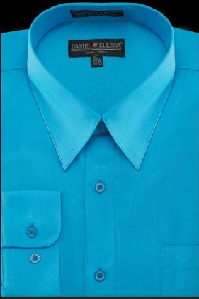 Mens Dress Shirts Turquoise Color Long Sleeve Ds3001