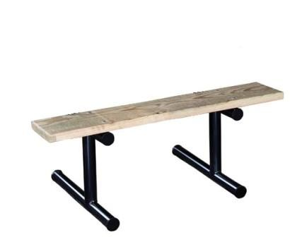 """The backless players benches are ideal for all types of sporting events and outdoor activities. They are available in 4 foot, 6 foot, 8 foot, or 15 foot lengths, and the plank materials include aluminum, lumber, or perforated thermoplastic coated steel. Frame and feet are constructed from 2"""" schedule 40 steel pipe. Frame options include a galvanized, powder coat, or thermoplastic coating finish."""
