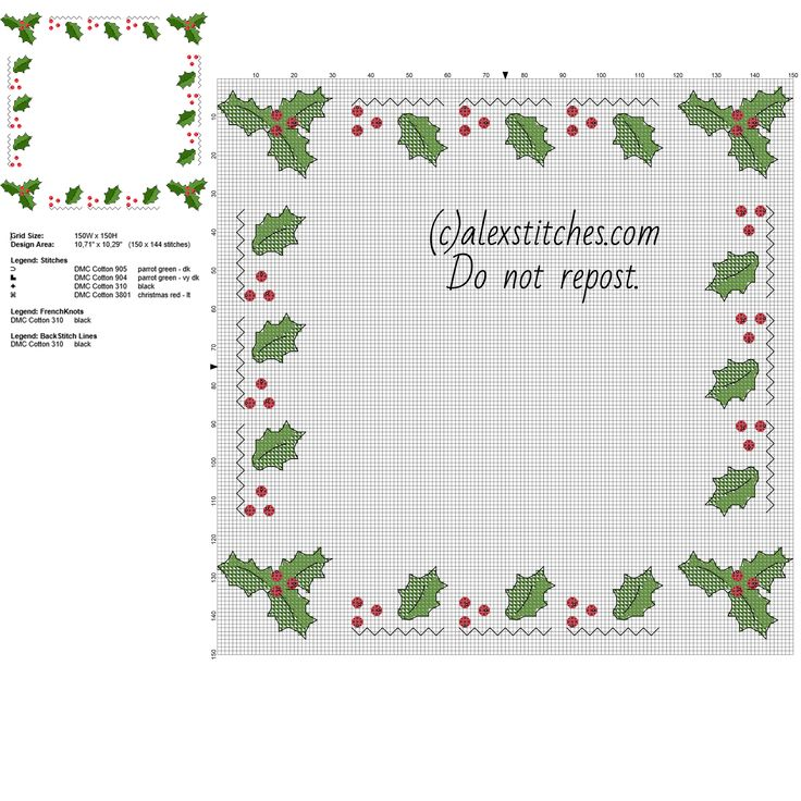 Cross stitch border with Christmas holly leaves free pcstitch pattern download