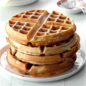 "Pecan Wheat Waffles Recipe -Your bunch will say a big ""yes"" to breakfast when these wonderful waffles are on the menu, promises Susan Bell of Spruce Pine, North Carolina."