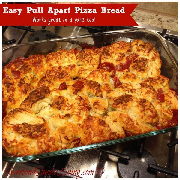 Easy Pull Apart Pizza Bread Used pizza dough with 1 oz less pepperoni, 1/4 c Parmesan and mix of mozzarella and provolone.  Next time using homemade pizza dough
