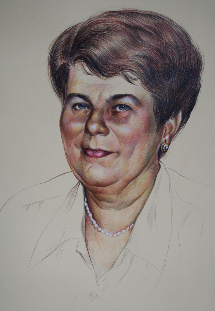 Olga Vinnitskaya. Igors Mutter, Buntstifte auf farbiger Fotokarton.