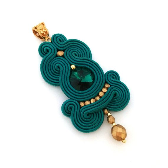 Soutache pendant  soutache necklace  christmas by SaboDesignOutlet
