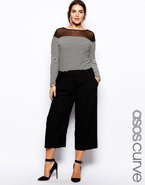 Bild 1 von ASOS CURVE – Exklusive Hose in mittlerer Länge