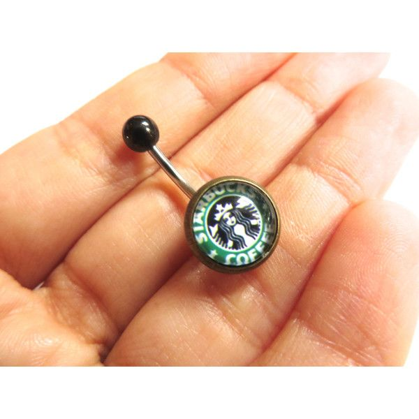 Belly Button Jewelry- Starbucks Coffee Logo Ad Navel Piercing Ring... ($12) ❤ liked on Polyvore featuring jewelry, logo jewelry, button jewelry, coffee jewelry and studded jewelry