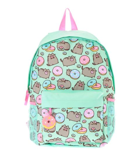 Take on the school year with your favorite friendly feline! Mint backpack is decorated with fun Pusheen and donut prints. Constructed of durable material and featuring two front compartments, this backpack offers plenty of room for your book and school supplies
