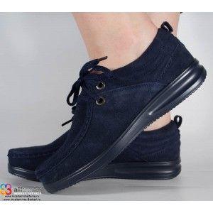 Pantofi din piele naturala bleumarin dama/dame/femei (cod 15-12253)