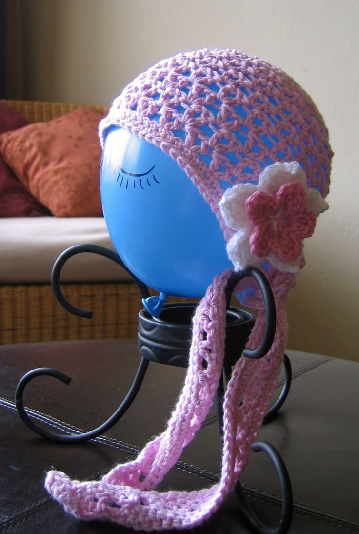 Lacey Crochet Doo Rag Type Hat With Flower