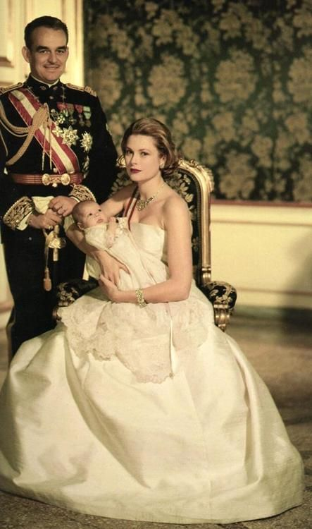 HSH Prince Rainier with wife Princess Grace Kelly and their newborn daughter Princess Caroline.