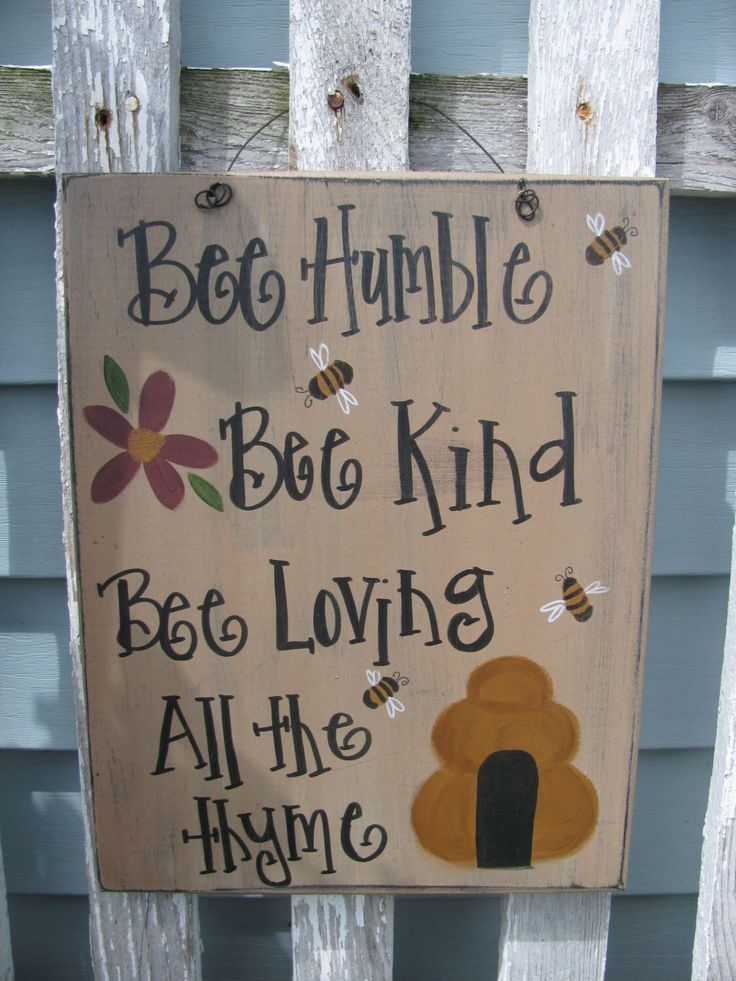Primitive Bee Happy with Bee Hand Painted Sign GCC