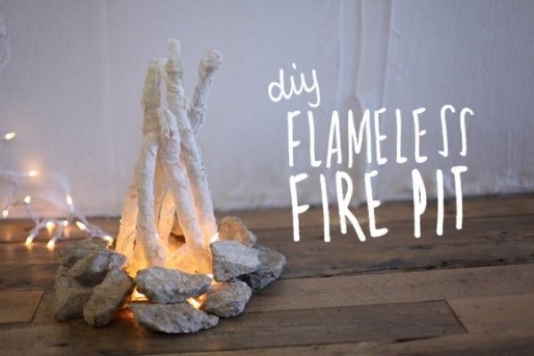 DIY flameless fire pit! such a cute holiday party idea!
