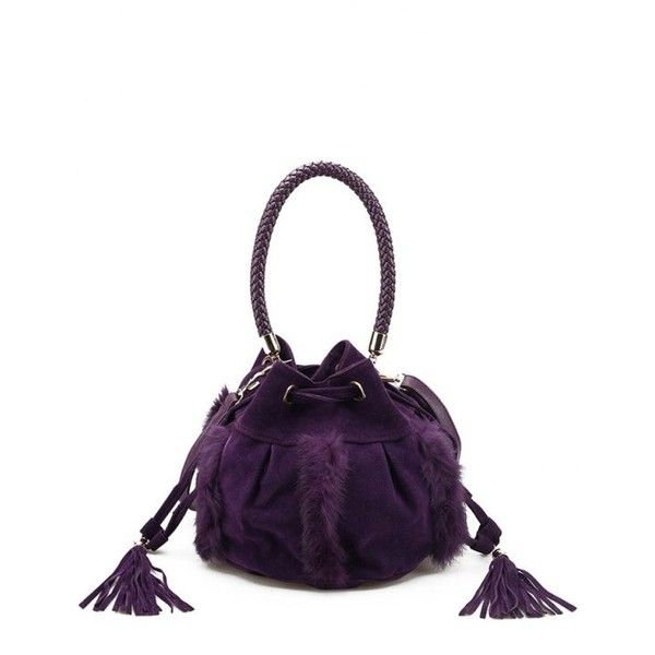 Braid Tassel Furry Bucket Bag Purple ($29) ❤ liked on Polyvore featuring bags, handbags, shoulder bags, white shoulder bag, purple shoulder bag, purple handbags, braided purse and bucket bags