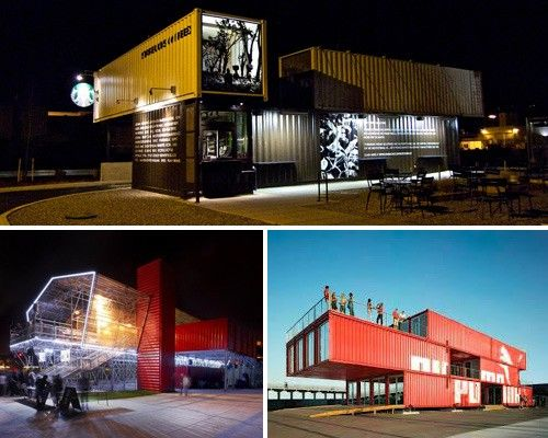 Starbucks shipping container store, Puma City shipping container store, Les Grandes Tables shipping container restaurant