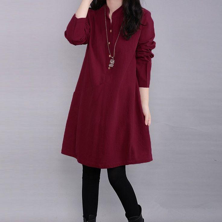 Fashion Autumn Dress  Elegant Women Casual Loose Long Sleeve Linen Shirt Dresses Solid Pocket Vestidos Plus Size 3 Colors