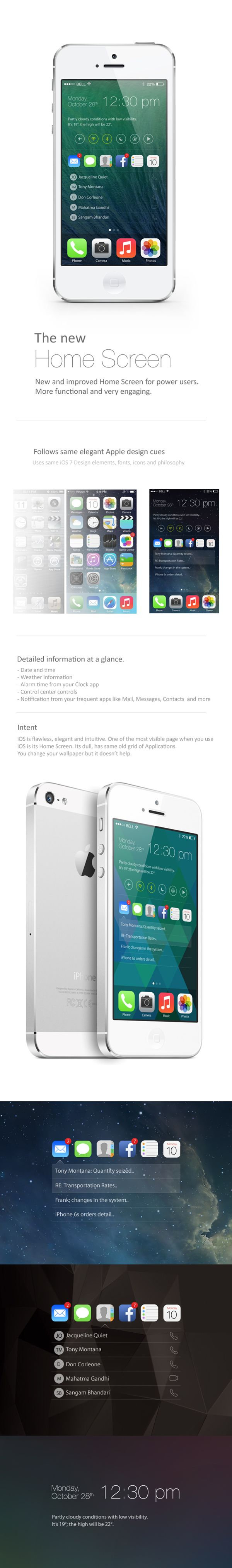 iOS Home Screen Concept by Sangam Bhandari, via Behance