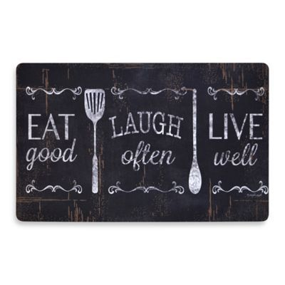 Soothing Chef Eat Laugh Love 19.7-Inch x 31.5-Inch Anti-Fatigue Kitchen Mat - BedBathandBeyond.com