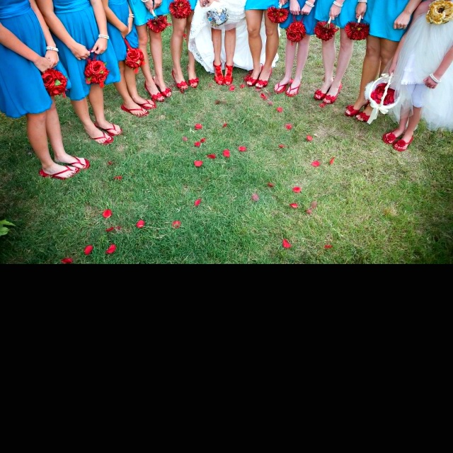 Turquoise And Red Wedding Ideas: Turquoise And Red Bridesmaid Dresses And Accessories