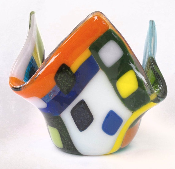 A colorful freeform small glass vase handmade by by dalitglass, $34.00