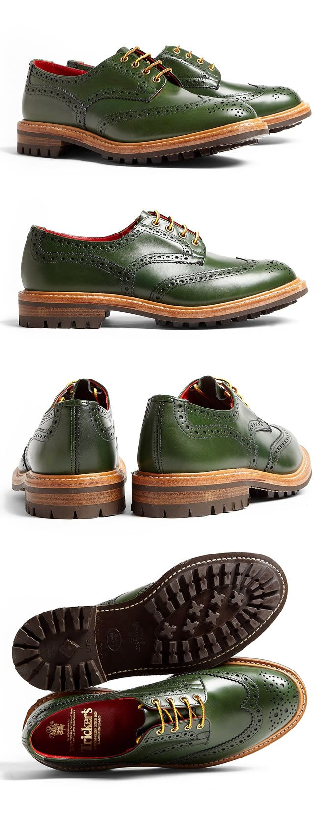 WANT!!! Tricker's Green Commando Brogue Bourton Shoes