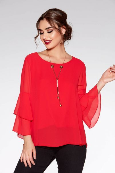 Red Chiffon Double Frill Necklace Top
