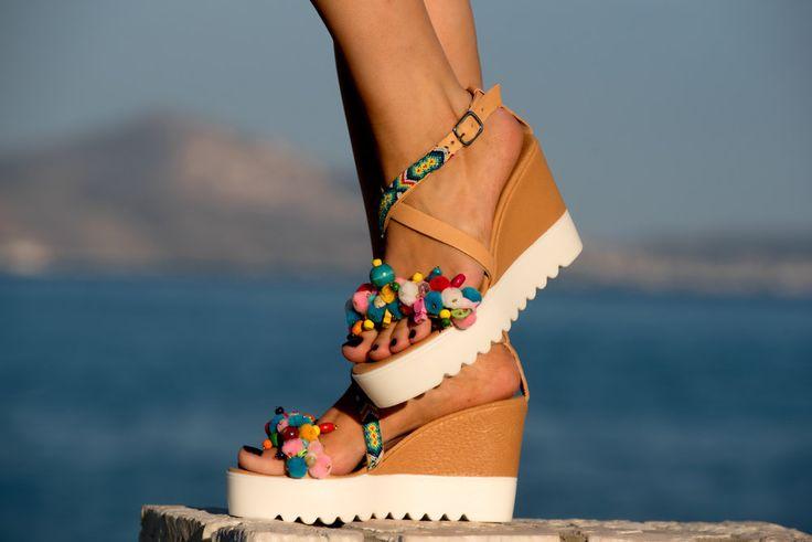Cork Wedged Heels, Pom pom Sandals, Friendship Sandals by PenelopesTemptations on Etsy